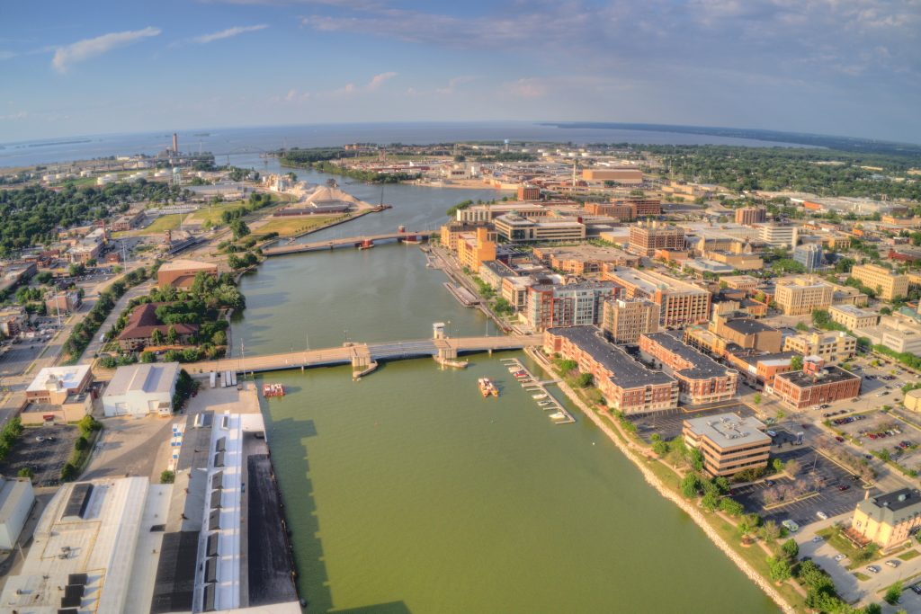 An aerial view of Green Bay, one of the best fishing spots in Wisconsin