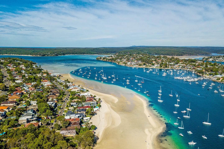 An aerial shot of Gunnamatta Bay, a popular fishing spot in southern Sydney