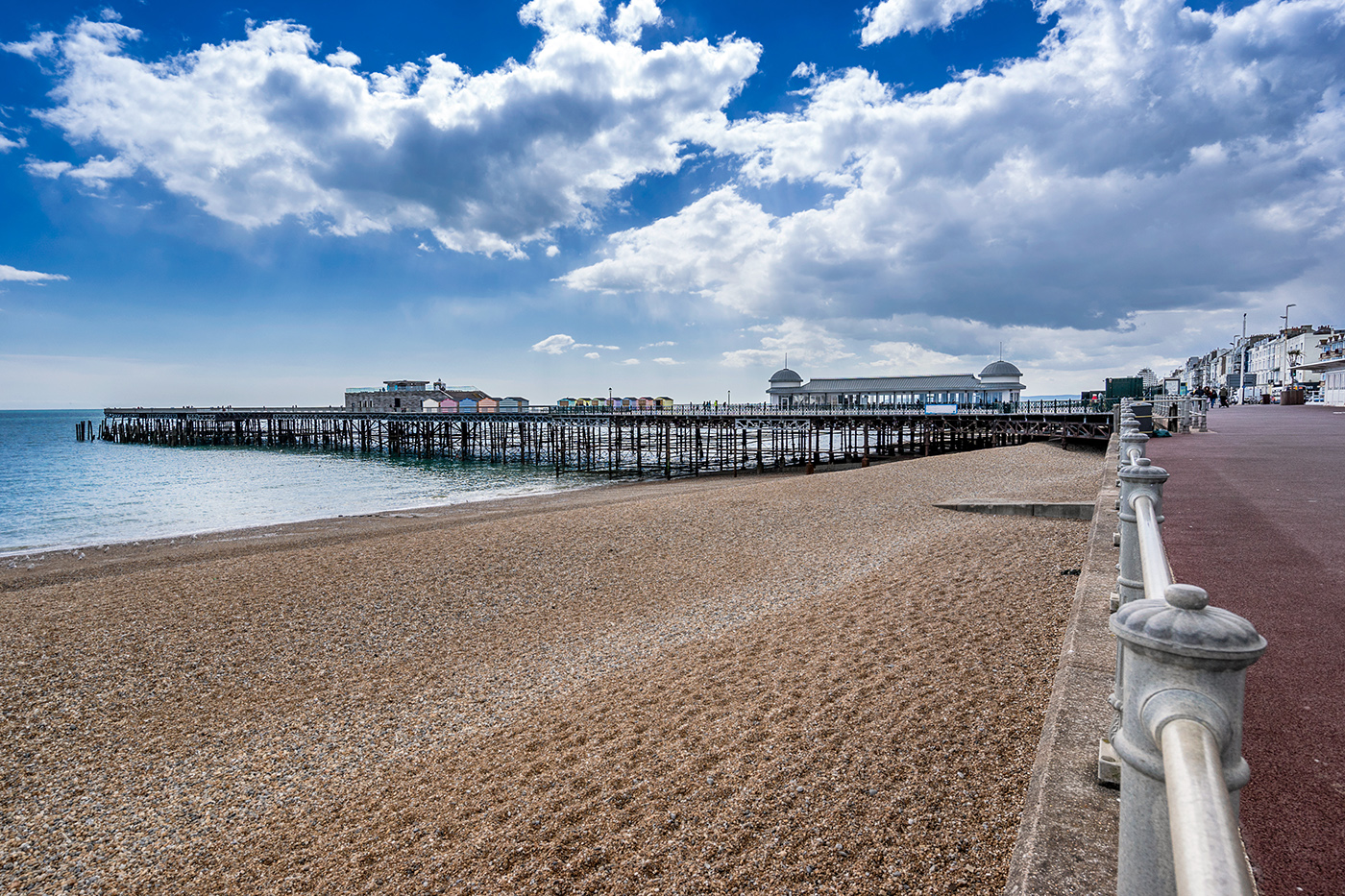 A view along the beach toward Hastings Pier
