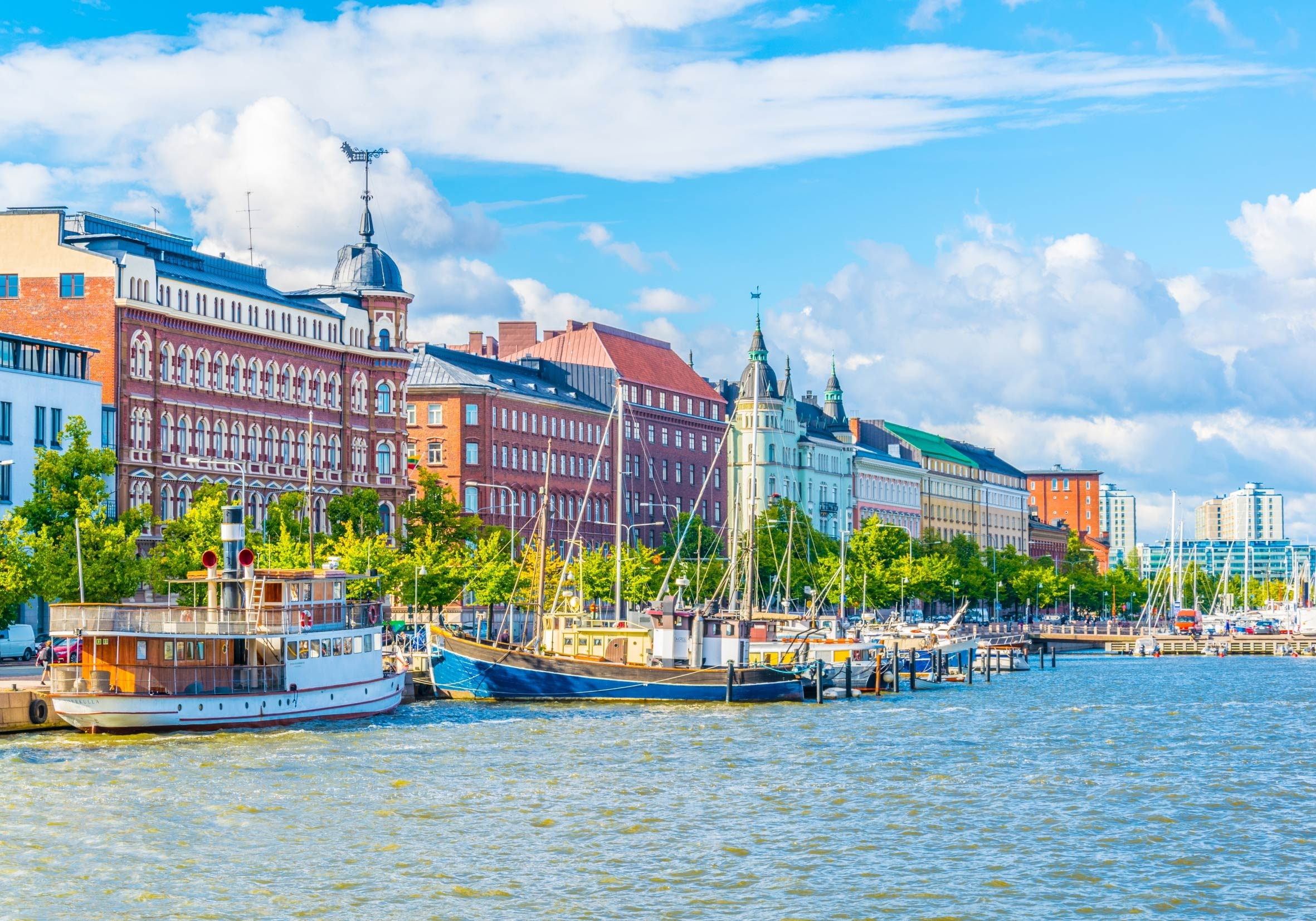 A view of Helsinki, Finland from the river