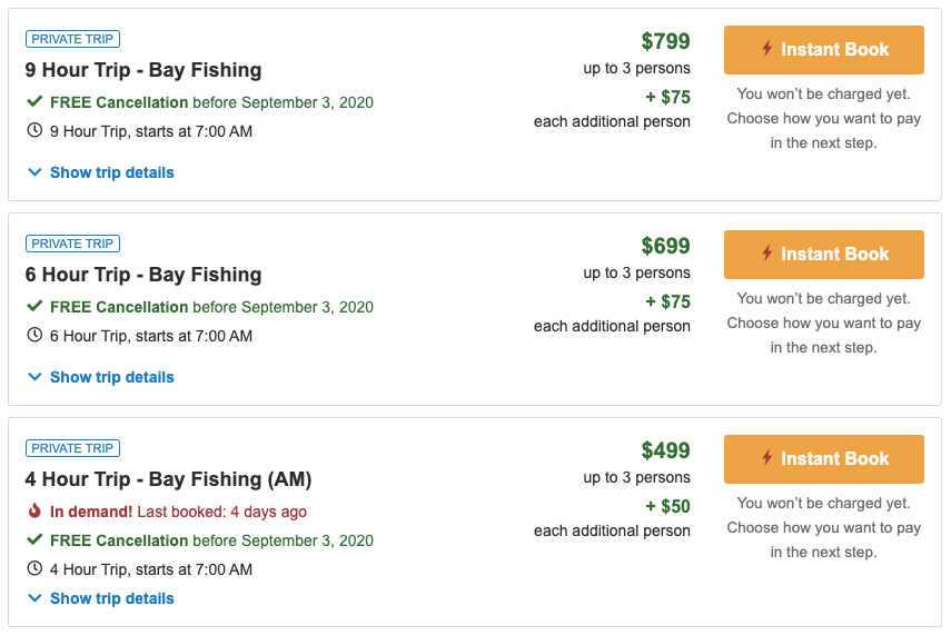Various trip packages on a FishingBooker listing. The trip and price are a common concern for people who don't know how to choose a fishing charter.