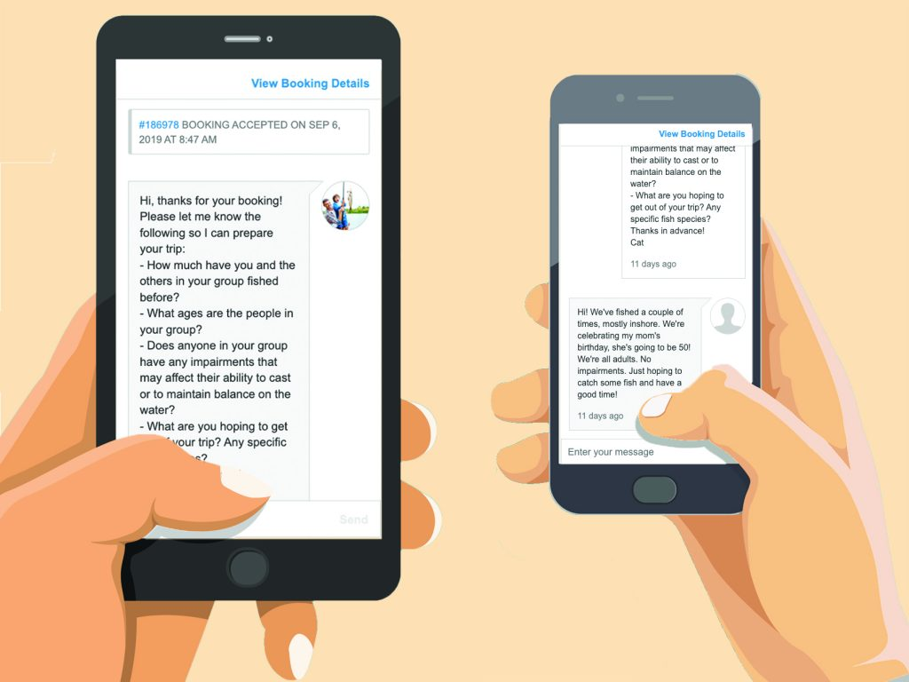 Two phone simulating an instant messaging conversation on FishingBooker