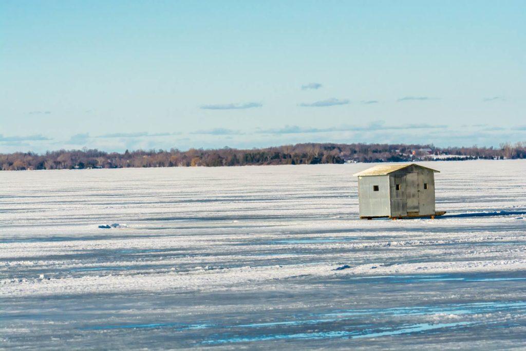 An ice fishing shack set up near Lake Ontario.