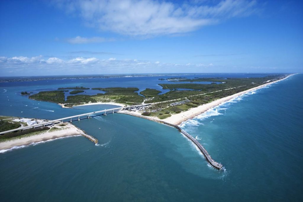 An aerial view of the Indian River, showing where it connects to an inlet