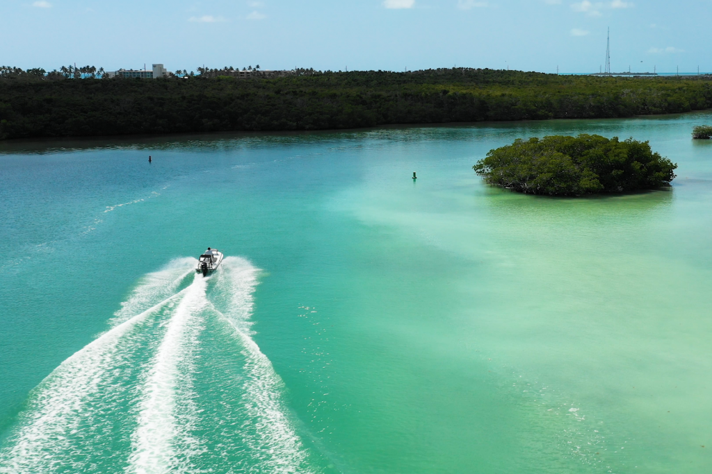 A boat cruising through the backcountry in the Florida Keys