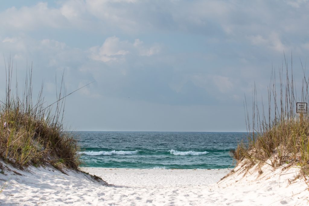 A view towards the sea on Johnson Beach, a popular surf fishing spot on the Florida Panhandle
