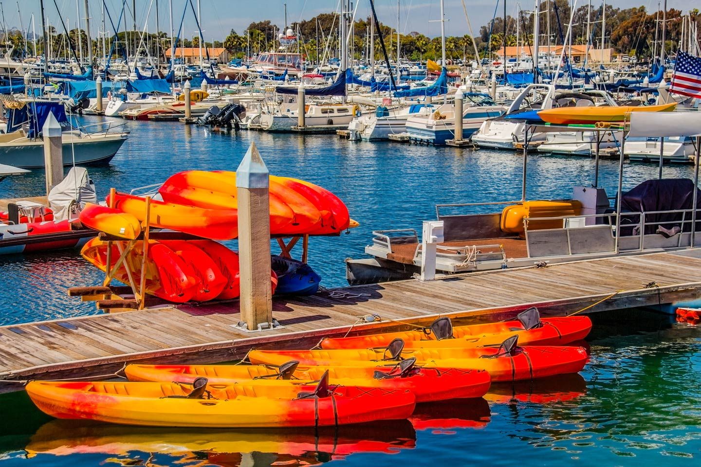 Rental kayaks tethered at the dock