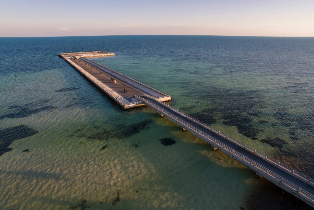 An aerial view of Key West Fishing Pier, also known as White Street Pier