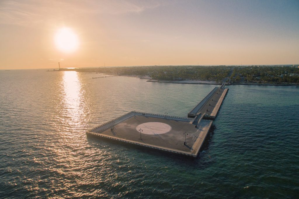 An aerial view of White Street Pier in Key West at sunset
