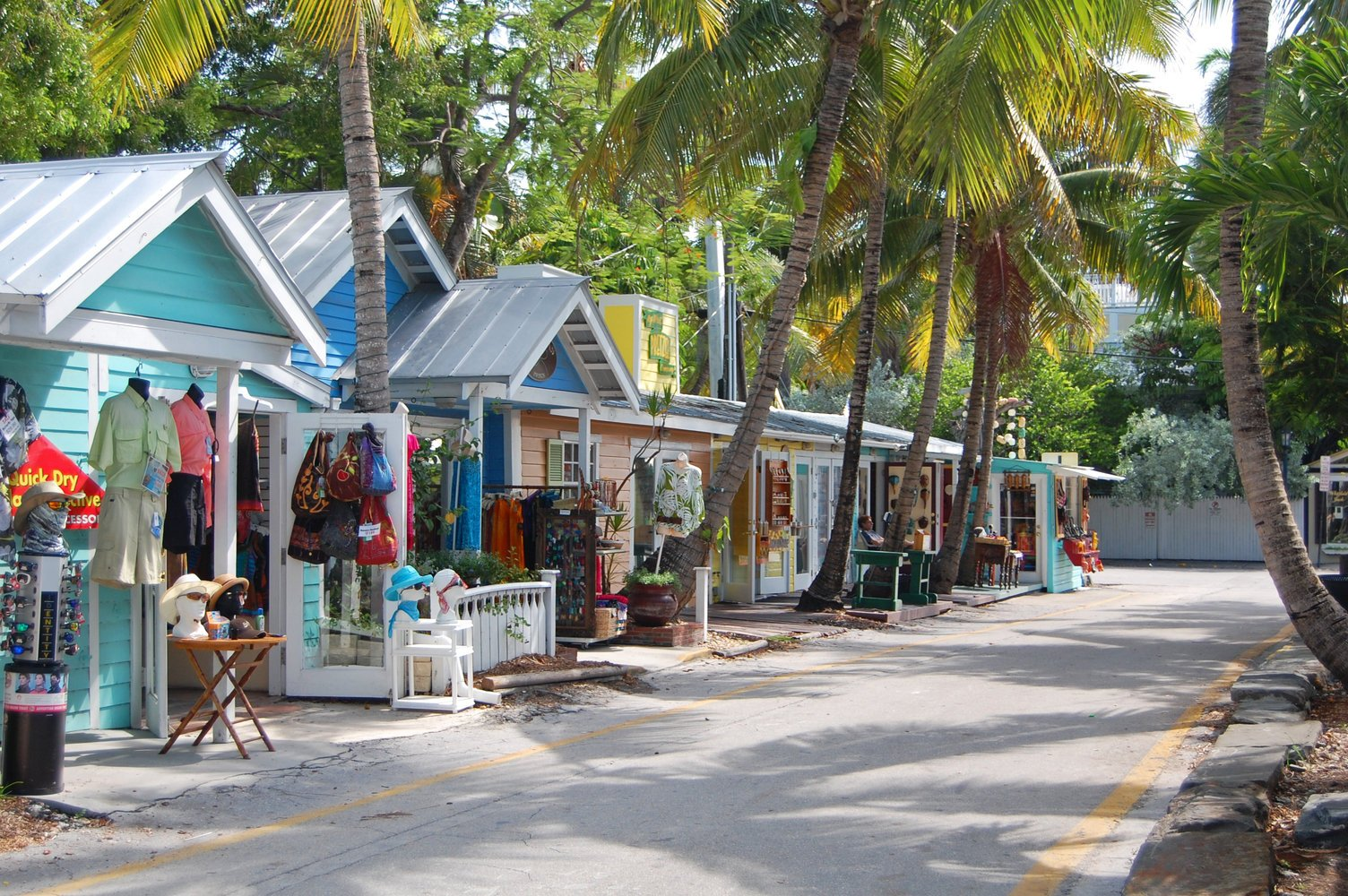 A street in Key West, several shops lined up