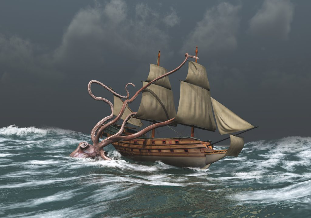 An illustration of a kraken attacking a sailboat in a storm