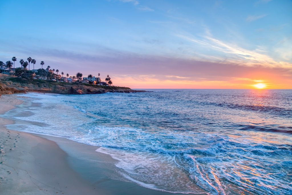 ocean sunset seen from La Jolla in San Diego