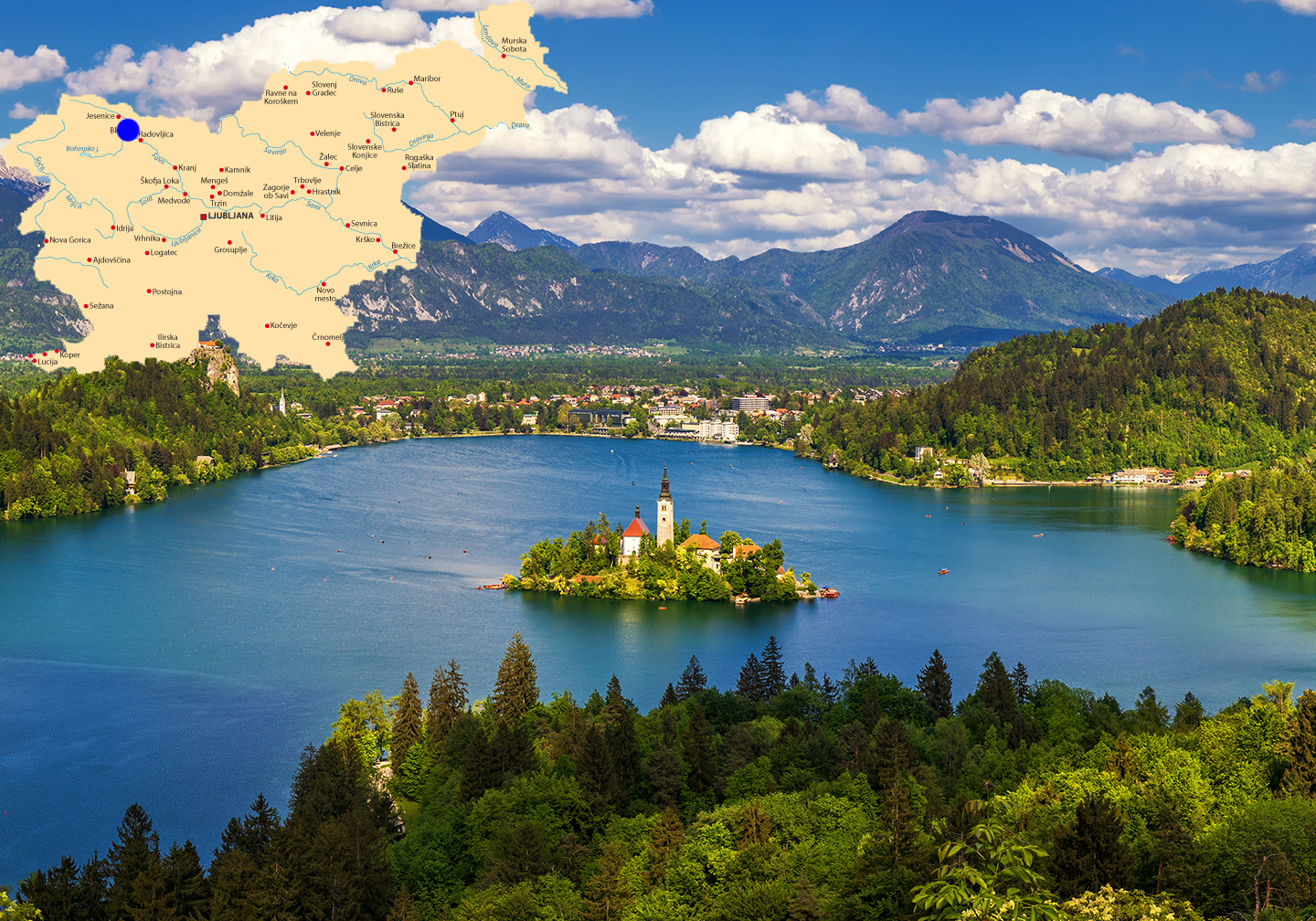 A picture of Lake Bled with a map of Slovenia added to the top left of the photo.