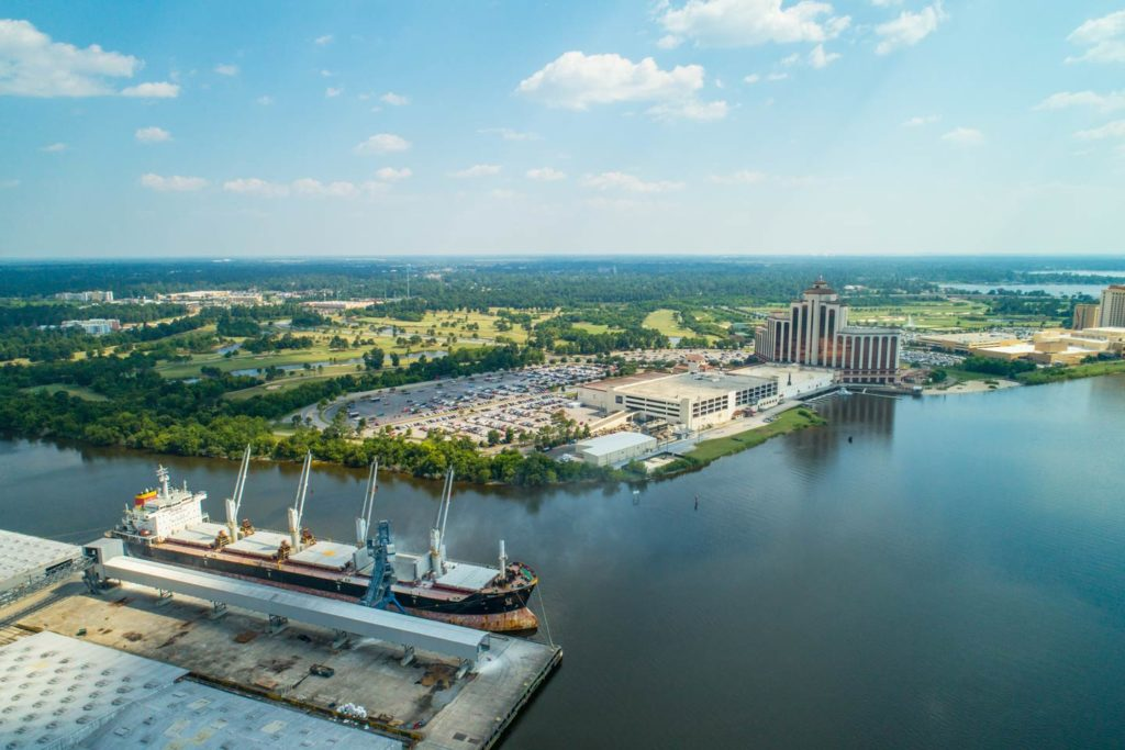 An aerial view of the Lake Charles waterfront.