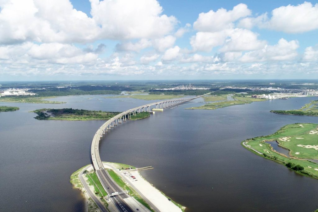 An aerial view of the numerous waterways surrounding the Lake Charles area.