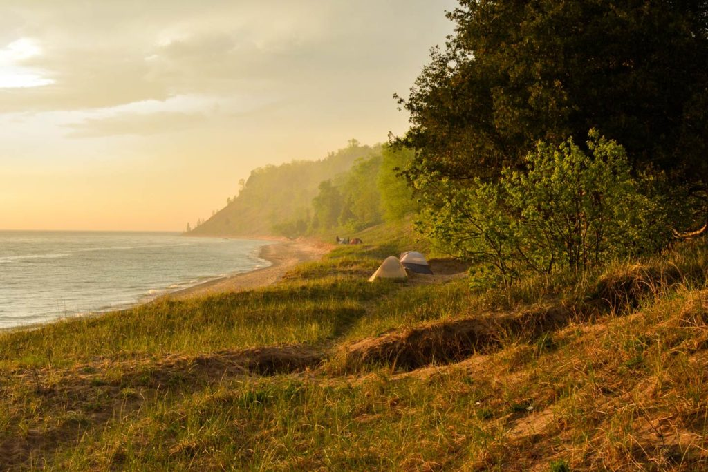 A view of Lake Michigan's shoreline with dunes and forestry in the foreground