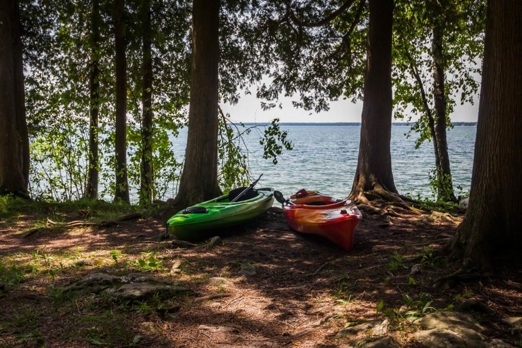 Kayaks along the shoreline of Lake Michigan