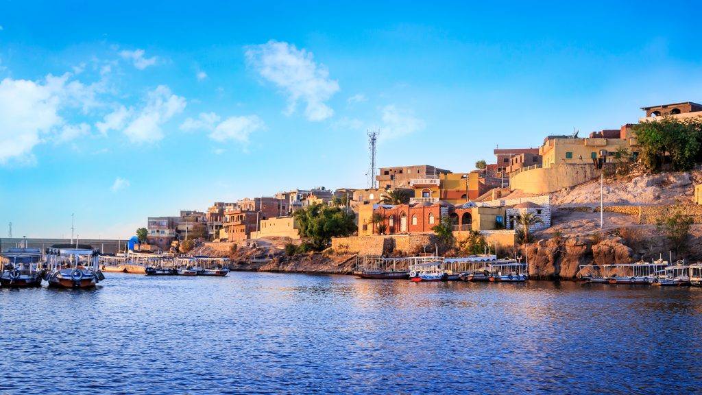 Aswan city seen from the waters of lake nasser, africa fishing destinations
