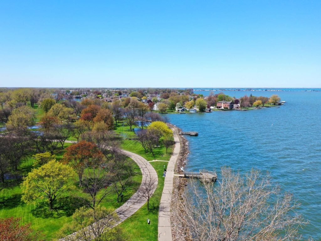 An aerial view of the Lake St. Clair Metropark