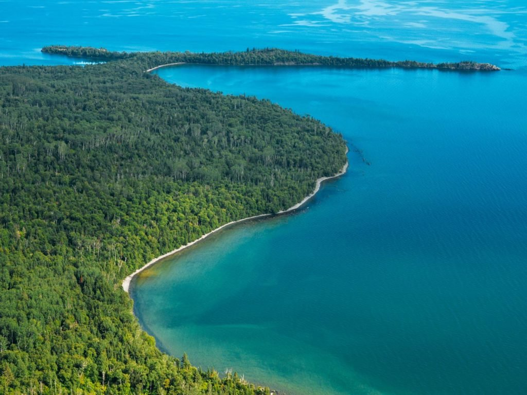 An aerial view of Lake Superior