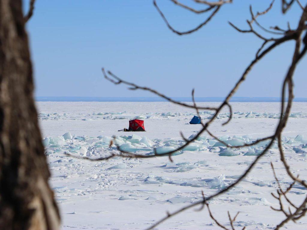 Ice fishing tents on Lake Superior