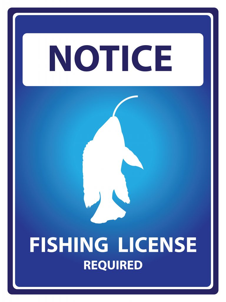 A sign showing that fishing license is required