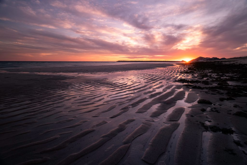 a beach during low tide with the sun setting in the background