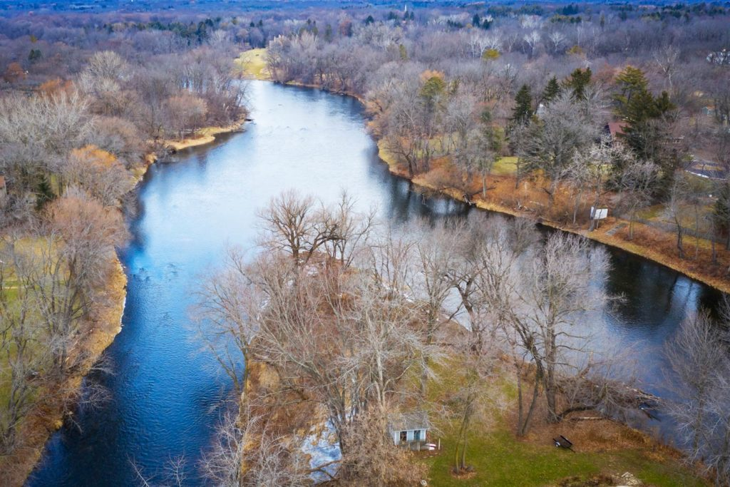 An aerial view of the Milwaukee River