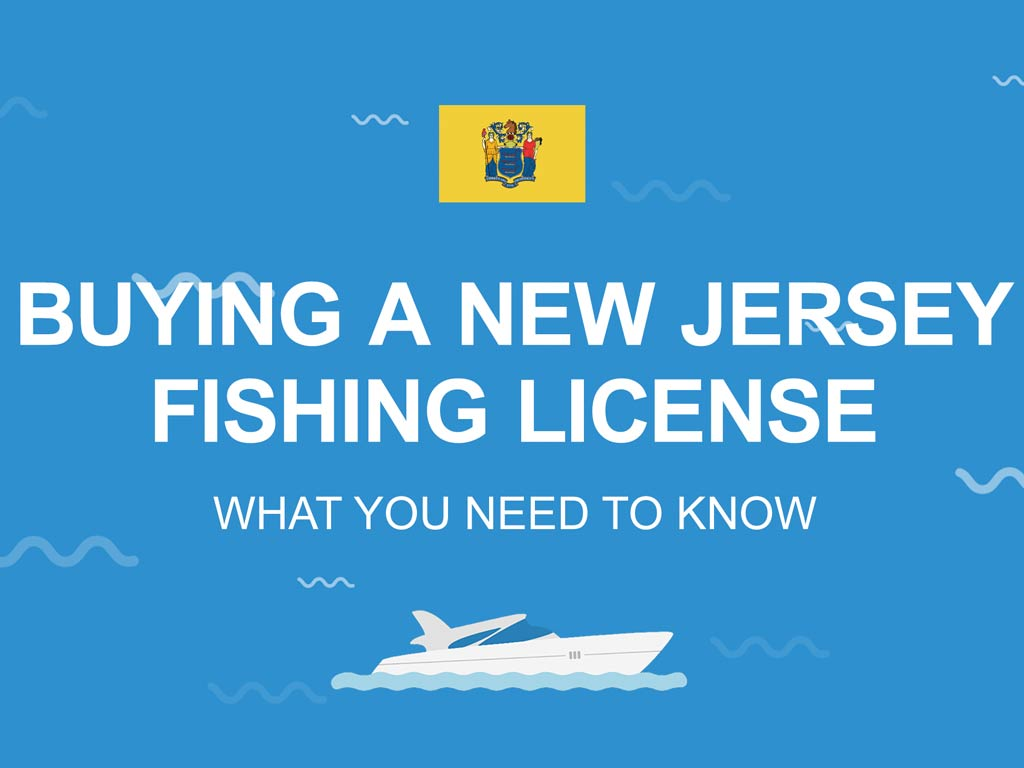 "An infographic with the New Jersey state flag and the text ""Buying a New Jersey fishing license"""
