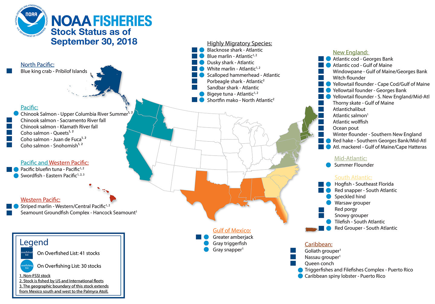 A NOAA map detailing the fish which are overfished or undergoing overfishing as of the end of 2018