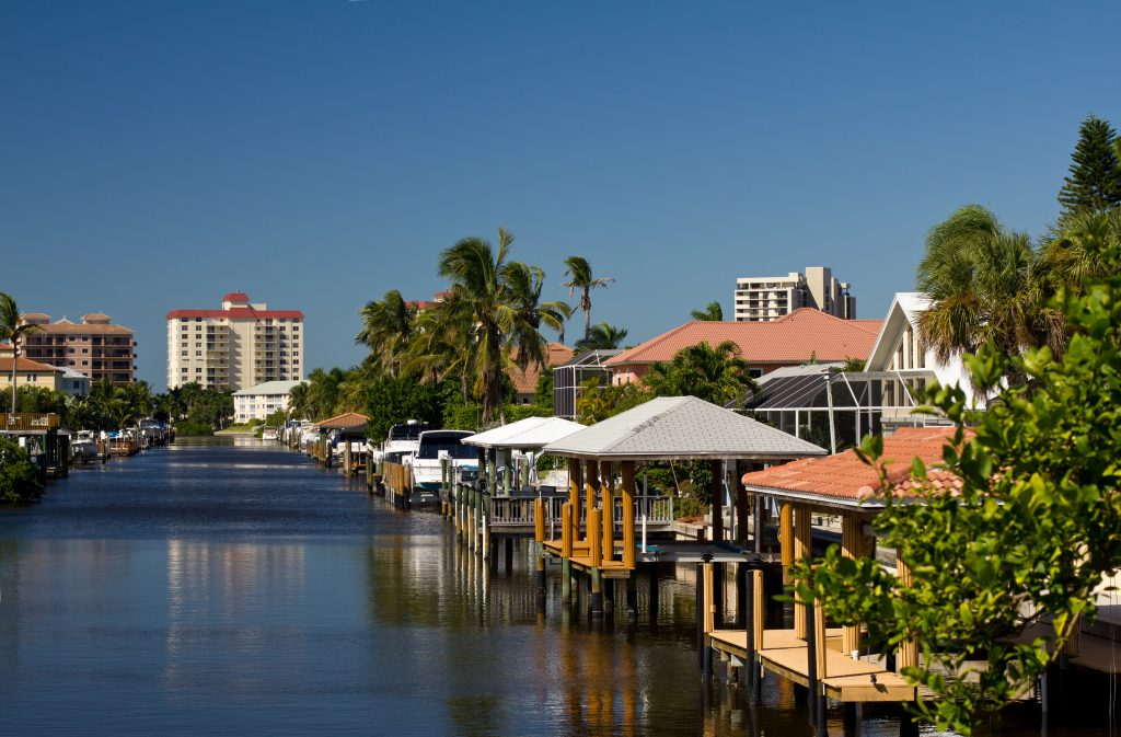 a view of naples canal and waterfront homes
