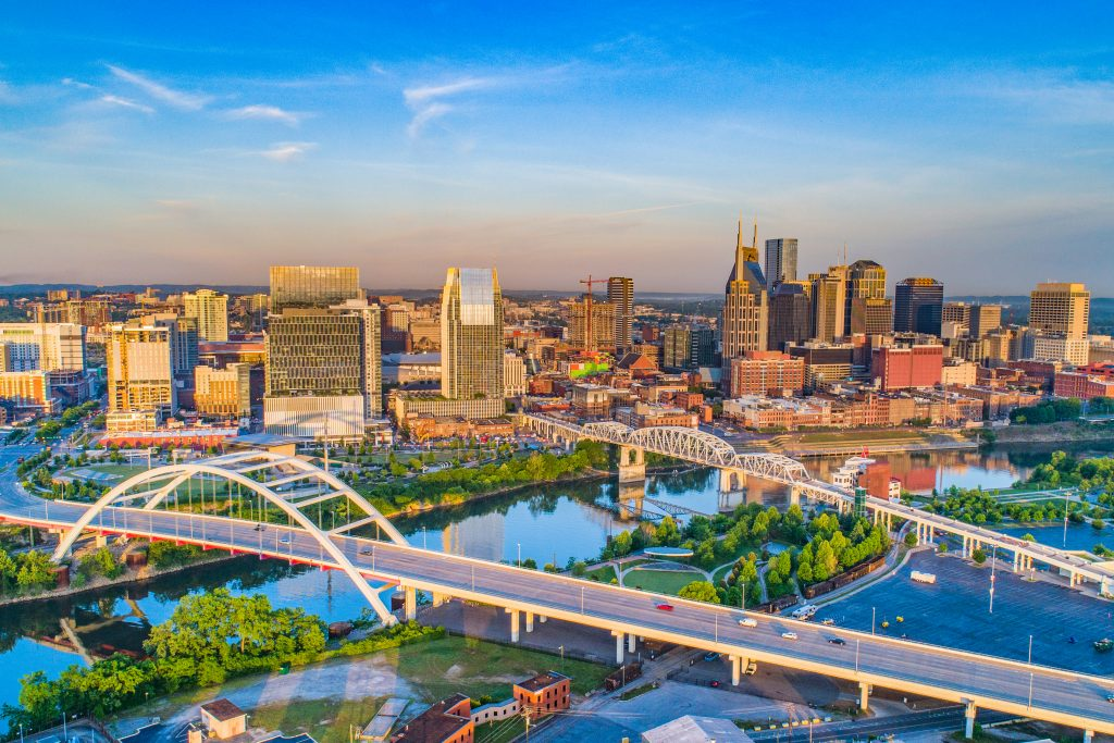 An aerial view of Nashville, TN, as the sun sets.