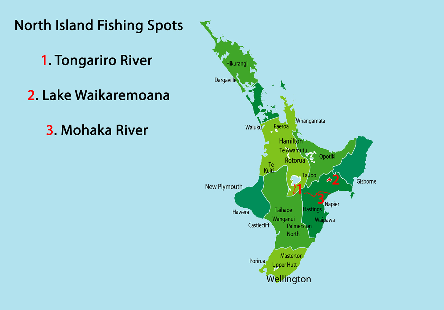 Map of best fly fishing spots New Zealand North Island