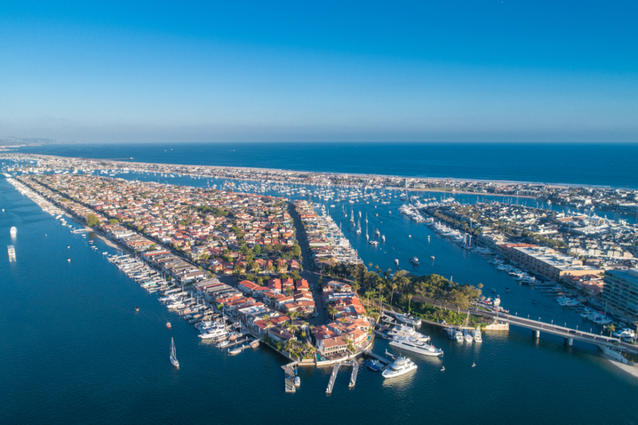 an areal view of Newport Beach