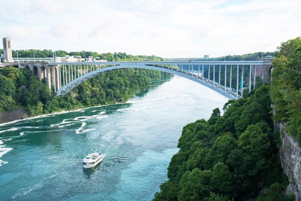 An aerial view of the Rainbow Bridge on the Niagara River.