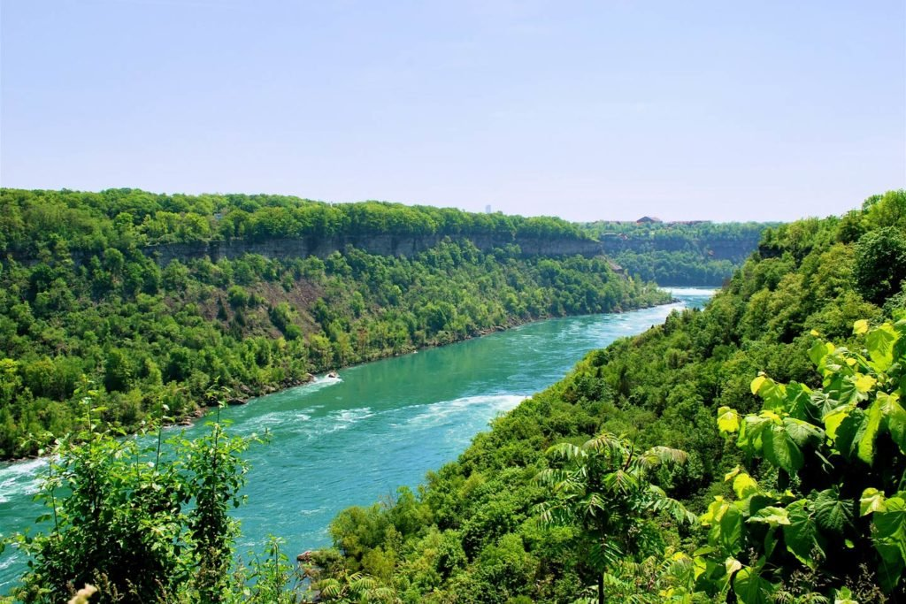 An aerial view of the Niagara River and surrounding nature.