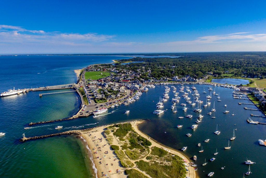 An aerial view of Oak Bluffs on Martha's Vineyard, MA, one of the most unspoiled vacation spots in America.