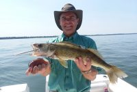 Paul Hale holding Walleye on Lake Erie