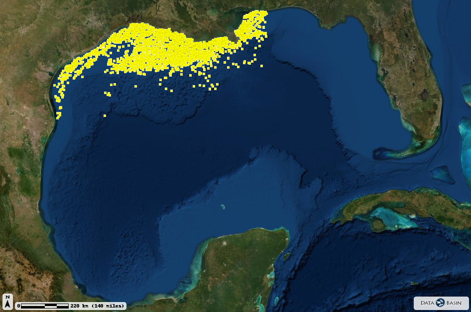 A map of the locations of all oil rigs in the Gulf of Mexico