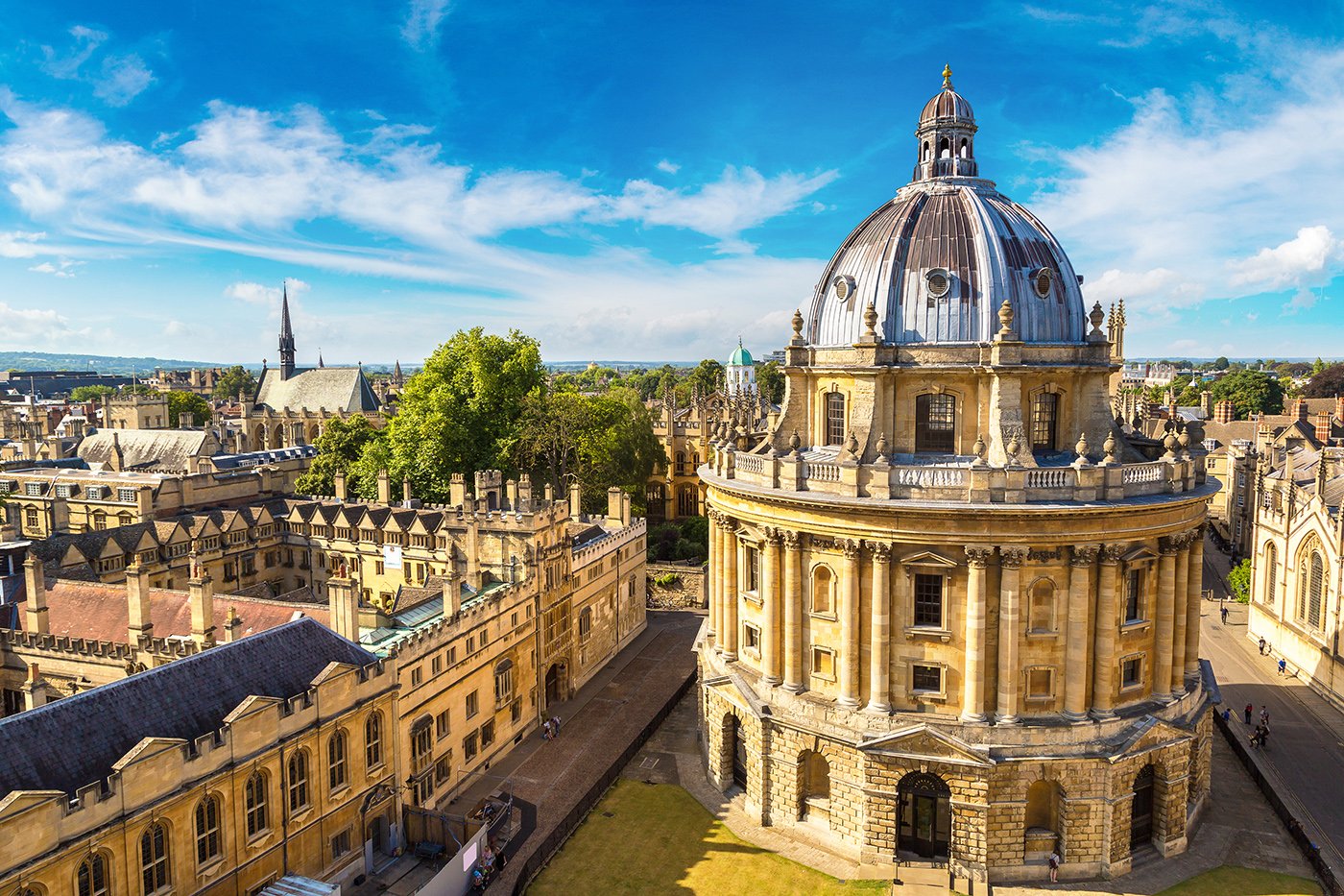 An aerial view of Oxford, with the Radcliffe Camera and University Buildings visible in the distance