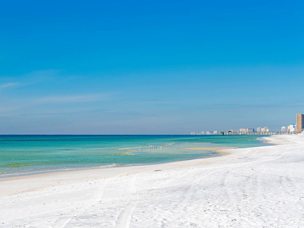 A view of the gulf of Mexico from a beach in Panama City Beach
