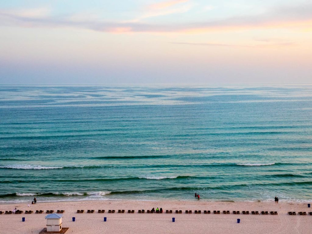 Aerial view of Panama City Beach overlooking the Gulf of Mexico