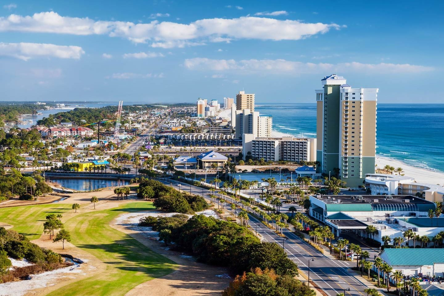 An aerial view of Panama City Beach