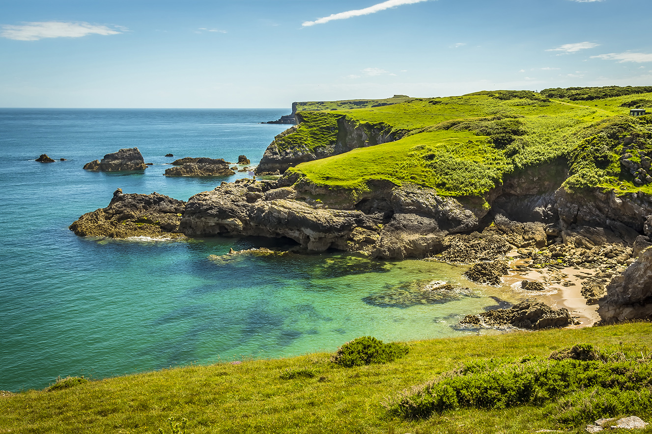 A sheltered beach and rocky cliffs on Wales's Pembrokeshire Coast