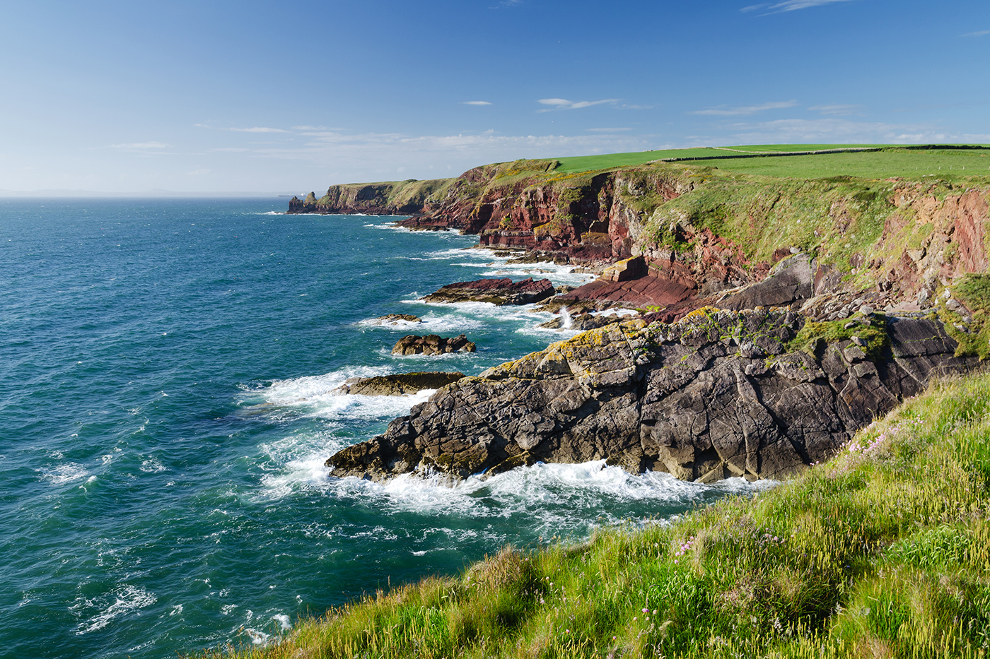 Waves crashing into the rocks on the Pembrokeshire Coast