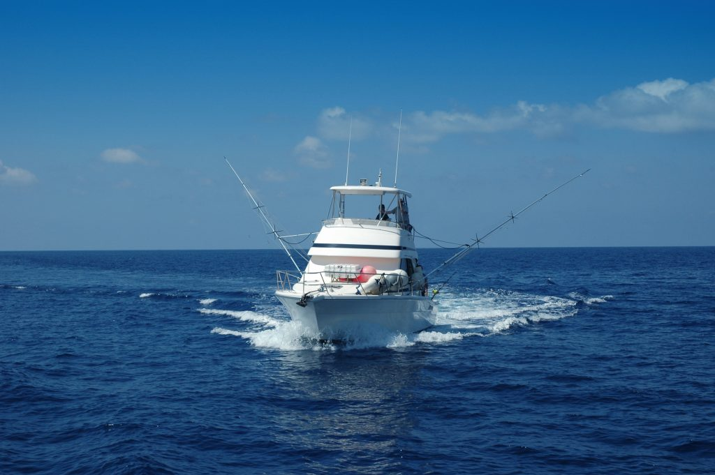 A large charter boat cruising in the Gulf of Mexico