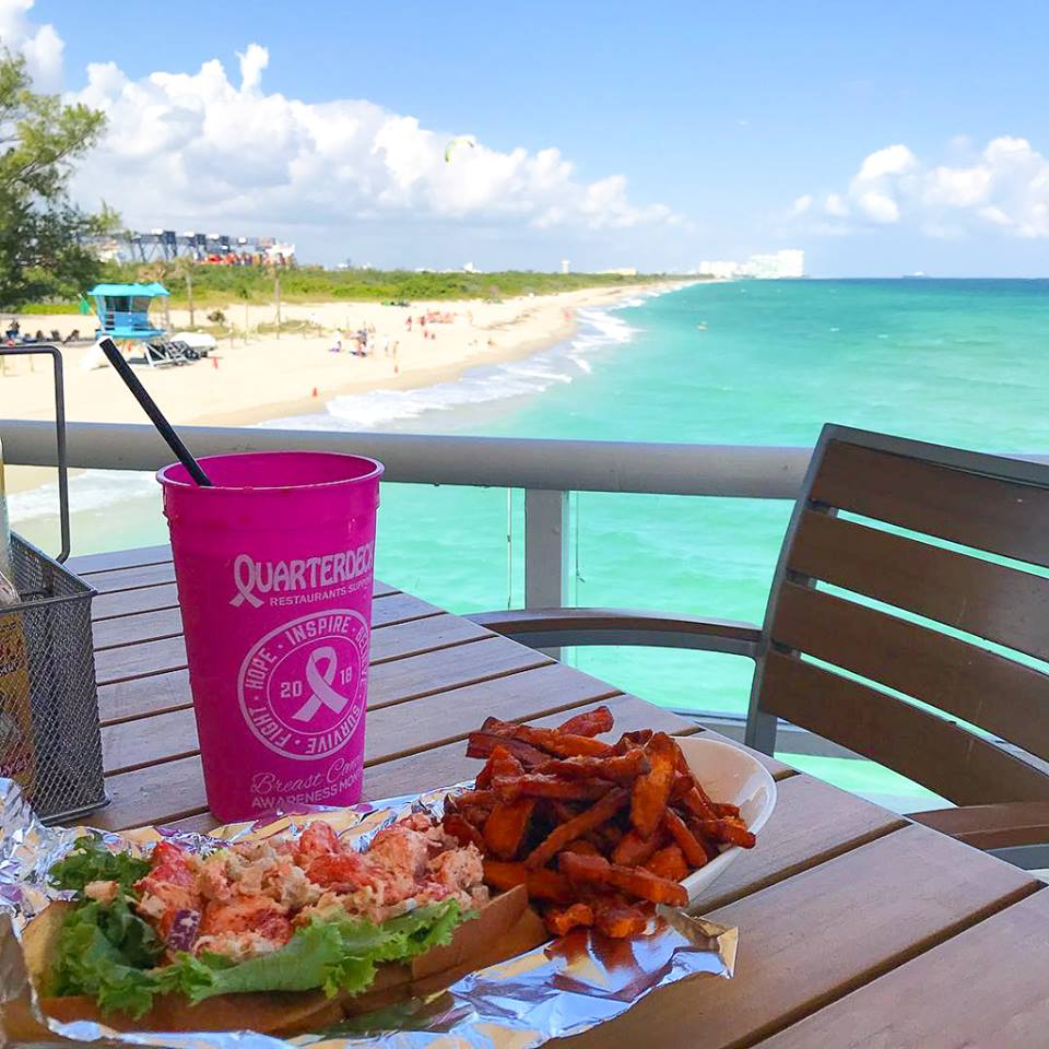 lobster roll with a beach view from quarterdeck fort lauderdale