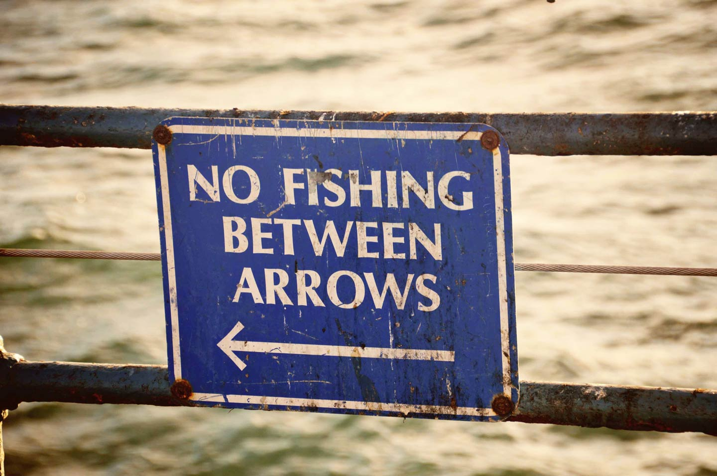 Signage indicating fishing is allowed only in certain areas.