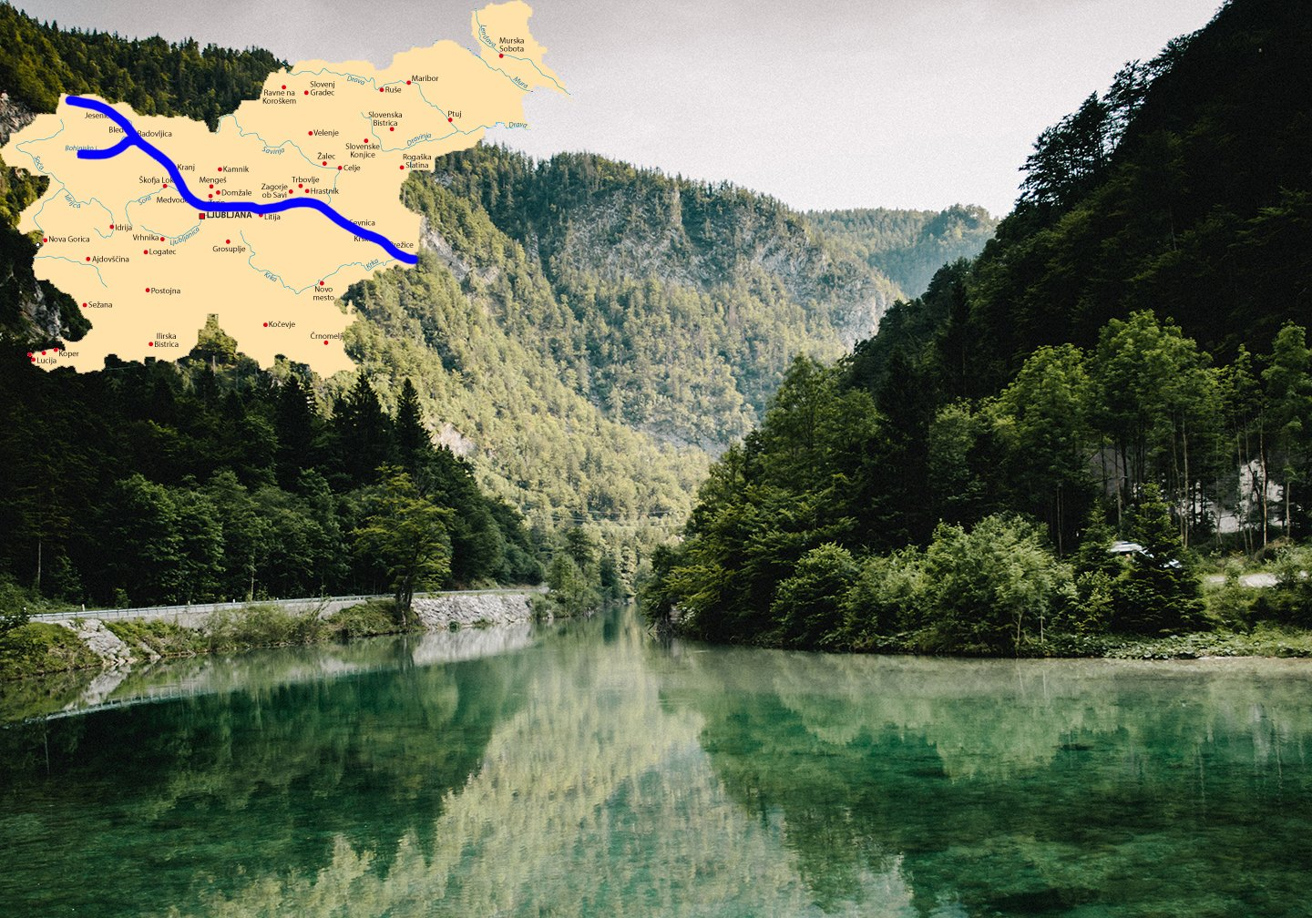 The Sava River, a calm, wide river with mountains either side. There is a map of Slovenia added at the top to show the course of the river through the country.