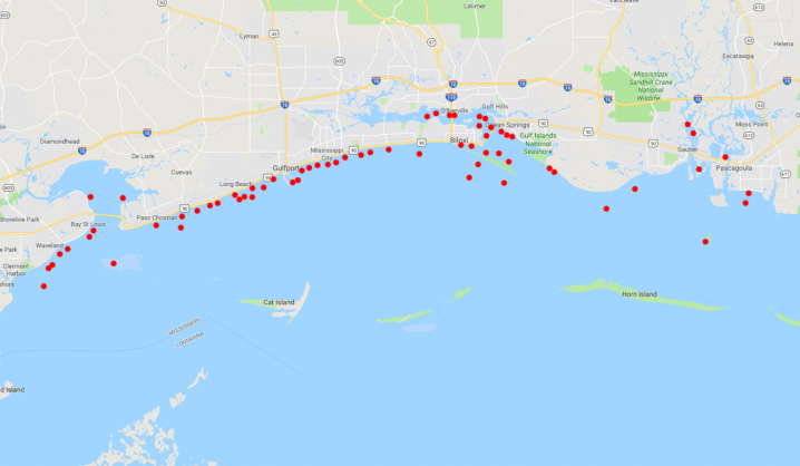 A map showing all the Mississippi inshore reefs